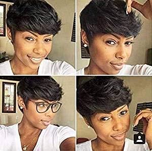 AIWEISE Human Hair Short Bob Wigs Short Pixie Cut Wigs Layered Cut Wig for Black Women