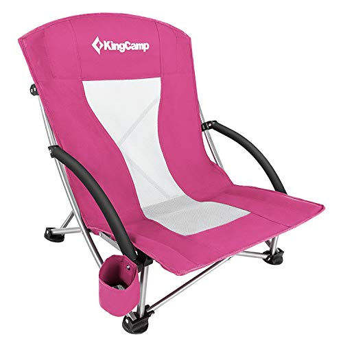 KingCamp Low Sling Beach Camping Folding Chair with Mesh Back (Rose Red)