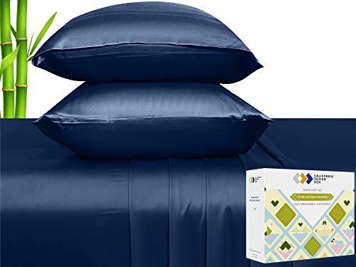 100% Pure Bamboo Sheets - Silky Soft Touch, Cool and Lightweight, 4 Piece Hotel Luxury Bed Sheet Set, Elasticized Deep Pocket for Snug Fit (Queen Size, Navy Blue)