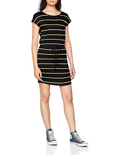 ONLY Damen Onlmay S/S Dress Noos Kleid, Mehrfarbig (Black Stripes: Double Yolk Yellow/Cl. Dancer), 40 (Herstellergröße: L)