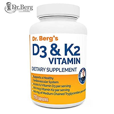 Dr. Berg's Vitamin D3 & K2 Supplement with Purified Bile Salts -Vitamin D3 & K2 Support Healthy Bones and a Healthy Heart – 10,000 IU of Vitamin D3 & 100 mcg of Vitamin K2 MK-7