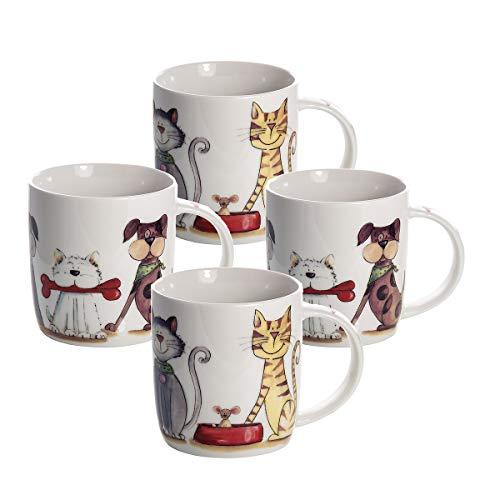 4er Set Tassen Kaffeebecher Kaffeetassen Mugs weiß Hund Hundemotiv und Katze Katzenmotiv Geschenk für Hundeliebhaber und Katzenlieberhaber