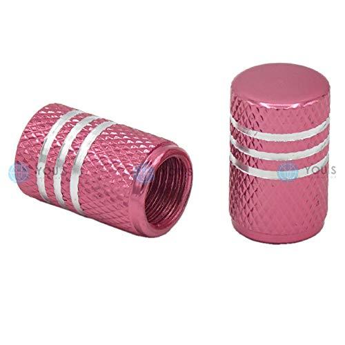 YOU.S Alu Ventilkappen Pink/Rosa mit Silberringen mit Dichtung Ventil Kappen Abdeckung für Auto PKW LKW Motorrad Fahrrad (2 Stück)