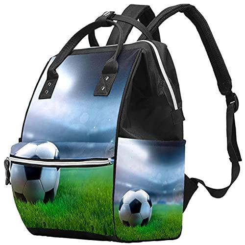 WJJSXKA Mochilas Bolsa De Pañales Portátil Mochila Para Portátil De Viaje Senderismo Mochila Para Mujeres Hombres - bola de campo de fútbol verde