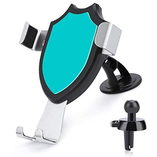 Soporte de ventilación para coche con manos libres, color azul verdoso, compatible con iPhone 12/12 Pro/11 Pro Max/8 Plus y más teléfonos móviles de 4 a 6 pulgadas