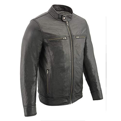 Milwaukee Leather SFM1866 Men's Classic Black Moto Leather Jacket with Zipper Front - 4X-Large