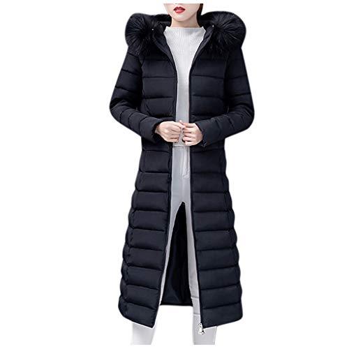 Plot Damen Winterjacke Lang Winter Warm Gefütterte Winterparka mit Pelzkapuze Steppjacke Lange Slim Fit Kapuzenpullover Casual Outdoor Outwear Streetwear