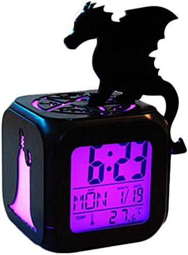 LXDDP Superheld Dragon Witch Queen Wecker, 3D Stereo LED Nachtlicht elektronischer Wecker, Nachttischuhr Schlafzimmer Geburtstagsgeschenk Wecker (Sieben Farben), B: Batterybox + USBkabel