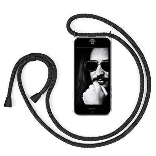 Zhinkarts Collana Porta Cellulare Compatibile con Apple iPhone 5 / 5S / SE (2016) - Custodia da Collo per Smartphone con Nastro - Cover per Cellulare con Cordoncino da Indossare - Nero/Nero