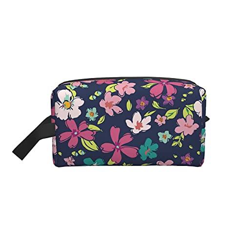 Bolsa de maquillaje grande pequeña flor fucsia bolsa de viaje organizador cosmético portátil para mujeres y niñas