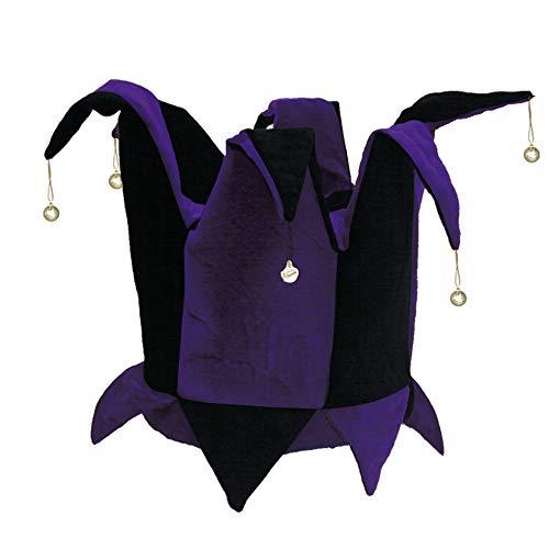 Velvet Jester Hat Royal Purple & Black for Mardi Gras, Halloween Costume