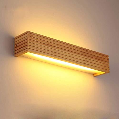 WHL wandlamp van hout, plafondspot voor de wand, met LED binnenin, lampenkap van acryl, wandverlichting voor hal, wandlamp, spiegel, badstraal