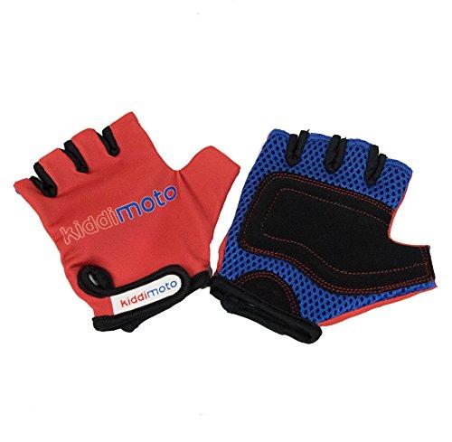 Kiddimoto Kinder Fahrradhandschuhe Fingerlose für Jungen und Mädchen / BMX Handschuh / Fahrrad Handschuhe / Bike Kinder Handschuhe - Rot - Medium