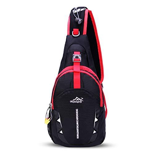 FANDARE Unisex Sac de Poitrine Ultra-léger Sling Bag Sacoche Bandouliere Sling Bag Garçon Fille Sac d'Epaule Sacoche de Ceinture Crossbody Bag pour Voyage Randonnée Cyclisme Jogging Durable Noir