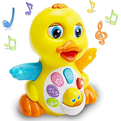 EARSOON Dancing Walking Electric Duck Smart Toys with Music and LED Light Cute Cartoon Yellow Duck Children Interactive Early Learning Toy for Birthday Kids Gift Boy & Girl from EARSOON