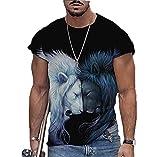 Camisetas Estampadas en 3D de Animales de león para Hombres Camisetas de Manga Corta con Cuello Redondo y Cuello Redondo de Estilo Callejero Informal