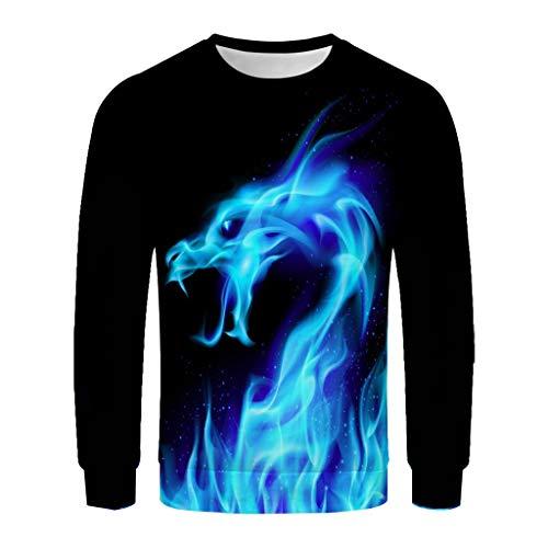 Realde 3D Druck Bunt Herren Langarmshirt T-Shirt Oberteile Freizeit Crew Neck Basic O-Ausschnitt Basic Slim Fit Top Mit jacken Herbst und Winter Männer Sweatshirt
