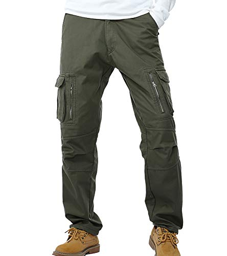 AYG Velour Hose Warm Herren Cargo Pants(army green,36)
