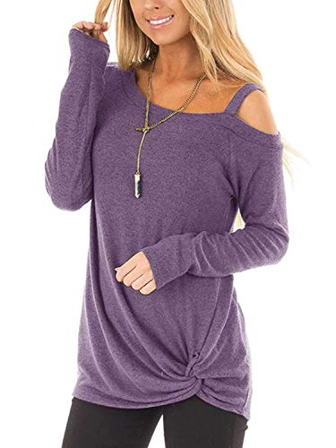 Beluring Damen Langarmshirt Oberteile Schulterfrei Shirt Elegant Tunika Longshirt Bluse Lang Violett M