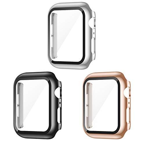 AVIDDA 3er Packung Apple Watch Schutzhülle,Hülle mit Displayschutz aus Panzerglas für iWatch 40mm Serie 6/5/4/SE,Vollabdeckung HD Ultradünne Schutzfolie Kompatibel mit iWatch 40 mm