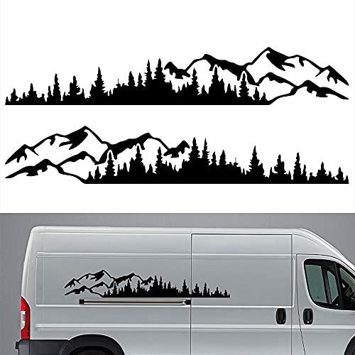 OPSLEA 2 x Auto Aufkleber Berg Aufkleber Baum Wald Berge Umriss Schweller Gebirge mit Wald Vinyl Grafik Aufkleber Kit für Car Camper RV Trailerca 190cm (Schwarz)