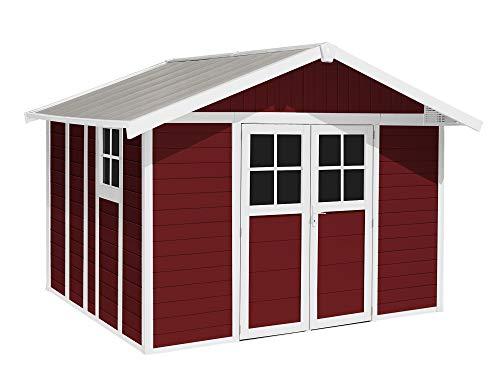 Ondis24 Gartenhaus Deco 3,55 x 3,15 m, Gerätehaus Kunststoff/Metall rot, Fahrradschuppen mit Satteldach, Geräteschuppen Outdoor, PVC Paneele, Doppeltür