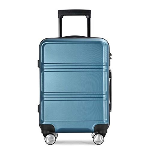 fosa1 Hand Luggage Trolley case ABS PC Trolley Case Boarding, Wrap Angle Japan And South Korea Luggage Universal Wheel Extended Suitcase Student Box,20,24inch (Color : Blue, Size : 24inch)
