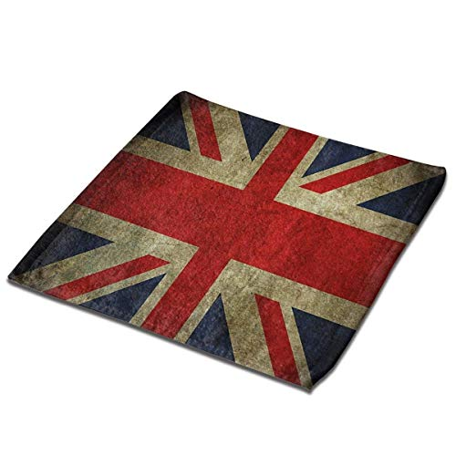 Yuanmeiju Toalla Cuadrada Vintage UK British Flag Square Washcloths Face Wash Cloth Fingertip Towel Rags Soft Merch Gift and Absorbent 13 x 13 Inches