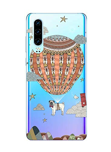 Oihxse Mode Case Compatible pour Huawei Honor 8X Max Coque Transparent Silicone Gel TPU Bumper Animal Motif Dessin Cover Ultra Mince Crystal Clear Antichoc Protection Couverture,Chien