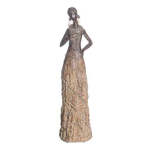 Figura Africana de Resina Gris exótica de 37x8x10 cm - LOLAhome