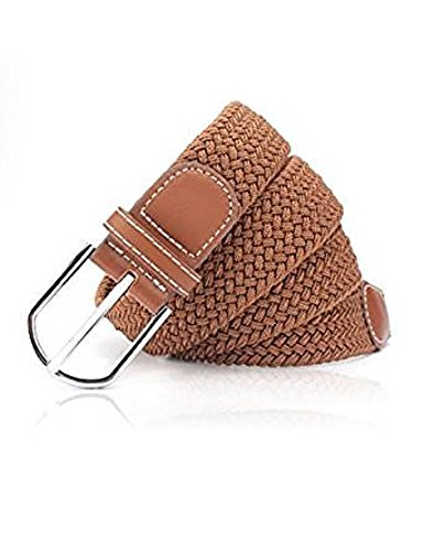 Ladies Elastic Fabric Braided Stretch Belt, 1 inch Wide Womens Woven Belt with Silver Buckle By Rohi (Tan)