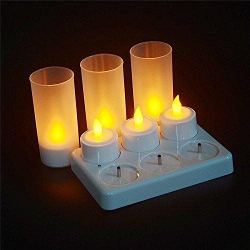 Lot de 6 bougies LED sans flamme, rechargeables avec supports de station de charge pour fête, mariage, maison, jardin, extérieur, décoration intérieure