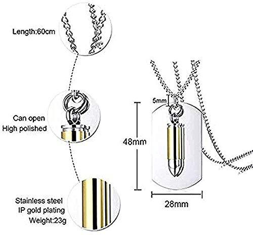 Collar personalizado Collar de dos piezas de acero inoxidable Urna de cremación Militar Bullet Dog Tags ID Colgante Collar para hombres 24-Silver_Gold para mujeres Hombres Niños Niñas Regalo