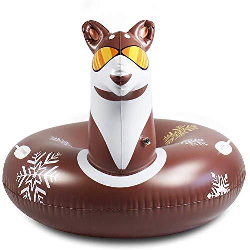 WLPTION Trineo de Tubo de Nieve Trineo Inflable de 117 cm / 46 Pulgadas Tubo de Nieve Inflable de PVC con 2 Asas para niños y Adultos Esquí Hierba Arena Playa Ideal para divertirse