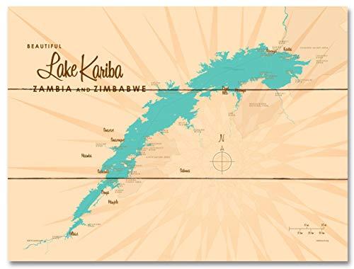 Lake Kariba, Zambia & Zimbabwe Map Wood Art Print by Lakebound 18' x 24'