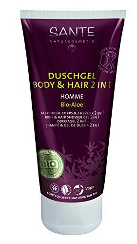 SANTE Naturkosmetik Homme Men Duschgel Body & Hair 2in1 Bio-Aloe für Männer, Anregend & vitalisierend, Pflanzliche Tenside, Vegan, Pflege für Herren, 2x200g