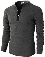 H2H Mens Basic Slim Fit Long Sleeve Henley Shirts Charcoal US L/Asia XL (CMTTL045)