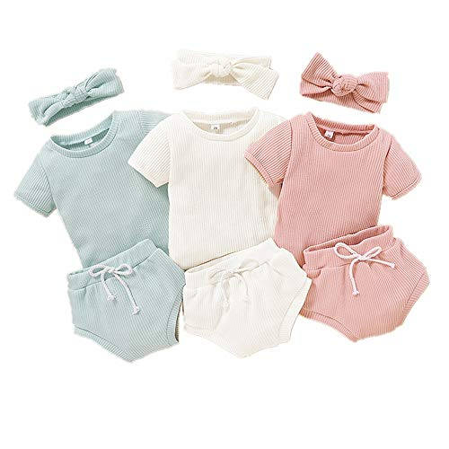 Bonfor 3 Pack x 3 Piezas Ropa Bebe Niño Verano 6-24 Meses Conjuntos de Deporte Bebé Niña Tops + Pantalones Cortos + Venda de Pelo, Ropa Recien Nacido 1-2 años (6-9 Meses)