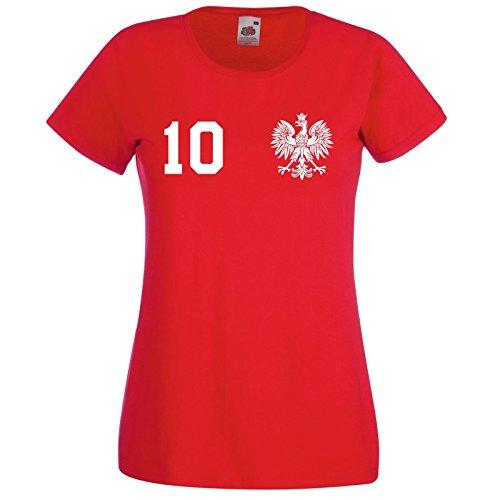 WM Polen Polska Damen T-Shirt mit Wunschname & Zahl, Rot, Gr. S