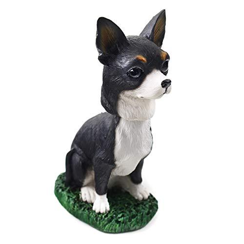 Animal Den Chihuahua B/W Dog Bobblehead Figure Toy for Car Dash Desk Fun Toy Accessory