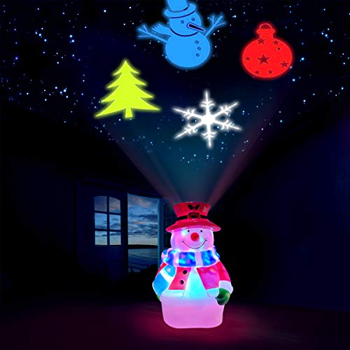 Christmas Snowman Projector Lights, Decorative Projection Lamp with Snowflake, Snowman,Tree, Ball Patterns for Holiday Night Room Decoration Xmas Party by QIFU