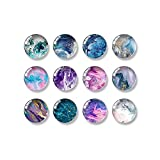 12PCS Fridge Magnets Round Glass Refrigerator Magnets Calendar Magnetic Sticker Decorations Whiteboards Magnets Set for Office and Kitchen(Marbling)