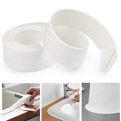 AurGun Caulk Strip, Self-Adhesive Sealing Tape PE Waterproof Decorative Sealant Trim for Kitchen, Bathroom, Shower Floor and Wall Edge Protector-(White, 131.8x1.5 Inches)