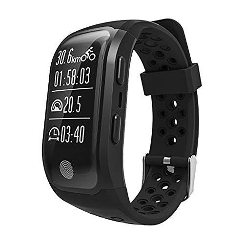 Pulsera inteligente, aviso de llamada de contacto, GPS, detección de salud, modo deportivo, IP68, impermeable, compatible con Android e iOS (color: negro)