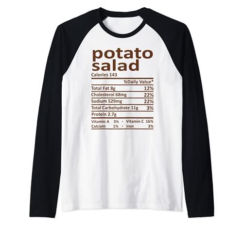 Patata Ensalada Nutricin Accin de Gracias Disfraz Comida Navidad Camiseta Manga Raglan