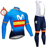 Men's Winter Cycling Jersey Set,Cycling Suits with 3 Back Pockets Long Sleeve Thermal Fleece Cycling Clothing