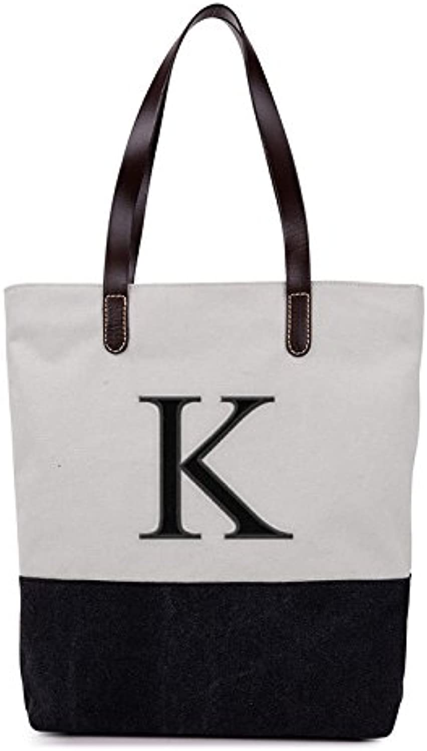 [ INITIAL  A to Z ] Embroidered Monogram Name Duotone BLACK Women Casual Canvas Shoulder Bag Messenger Zipper Tote Bags