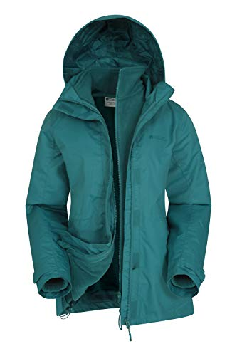Mountain Warehouse Fell Wasserabweisende 3 in 1 Damen Winterjacke, warme Fleecejacke, Regenjacke, Damenjacke, Funktionsjacke, Allwetterjacke, Übergangsjacke, Grün, EU48 (DE 46)
