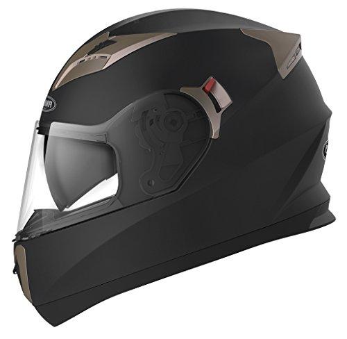 Casco Moto Integral ECE Homologado - YEMA YM-829 Casco de Moto Scooter para Mujer Hombre Adultos con Doble Visera -Negro Mate-S