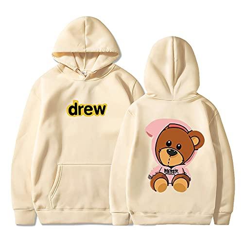 JESMIA Hip Hop Drew House Hoodie Merch Bieber Smiley Face Hoodies Trendy Couples Sweatshirt Sportwear Sweater for Men Women (khaki3,L)